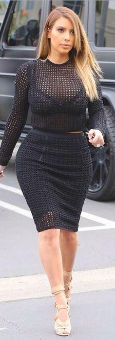kim kardashian  Who made  Kim Kardashians nude sandals, mesh long sleeve top, and skirt?