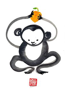 Monkey Chinese Zodiac Happy New Year of the Monkey by ZenBrush