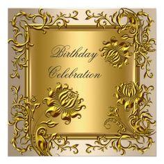 Elegant Gold Coffee Floral Birthday Celebration