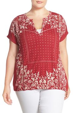 Lucky Brand Print Split Neck Jersey Top (Plus Size) available at #Nordstrom