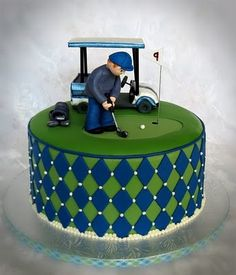 Golf Cake round cake with a golf theme. Fondant and buttercream details. Golf Birthday Cakes, Sports Themed Cakes, Golf Cakes, Happy Birthday, Fondant Cakes, Cupcake Cakes, Golf Grooms Cake, Christening Cupcakes, Sport Cakes