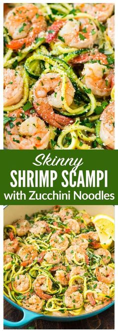 Skinny Shrimp Scampi with Zucchini Noodles. Easy low carb version of the classic pasta dish that can be made without wine. Skinny Shrimp Scampi with Zucchini Noodles. Easy low carb version of the classic pasta dish that can be made without wine. Healthy Diet Recipes, Healthy Meal Prep, Keto Recipes, Cooking Recipes, Low Carb Shrimp Recipes, Fish Recipes, Meal Prep Low Carb, Zucchini Pasta Recipes, Chicken Recipes