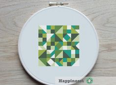 modern cross stitch pattern geometric blocks PDF by Happinesst