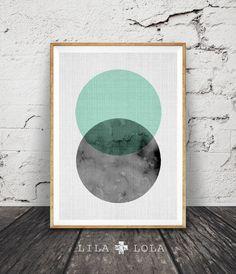 Geometric Art, Circle Print, Mint Green and Black, Scandinavian Style, Design, Modern Wall Art, Minimal Decor, Printable, Large Poster Art