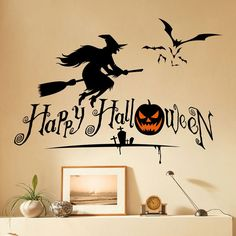 Home Decor Halloween Witch Shape DIY Wall Stickers - BLACK