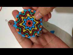Kum boncuk Mandala küpe yapımı 1 - YouTube Gold Jewelry Simple, Simple Necklace, Beaded Earrings, Beaded Jewelry, Beading Projects, Brick Stitch, Beaded Flowers, Beading Patterns, Beadwork