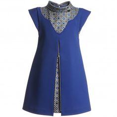 ValMax Blue Stretch Dress with Lurex Trim | CHILDRENSALON