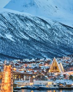 """830 Likes, 30 Comments - Vegard Stien (@vegasti1) on Instagram: """"Polar night in Tromsø with the iconic Ishavskatedralen and Tromsø Bridge 👌"""""""
