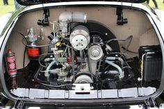1956 Karmann Ghia, engine view with Judson Supercharger