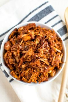 Looking for a plant-based shredded bbq option? Look no further than bbq jackfruit! It looks just like real deal shredded bbq, it's loaded with bbq flavor and it's so easy. Use as a meatless option in your favorite bbq recipes!#jackfruit
