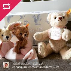 @natalieadams1989 has one lucky baby! Her collection already consists of a personalized collectible Teddy and some sweet plush toys for her to cuddle! #baby #babysteiff #steiff #babyshower #giftideas #showyoursteiff