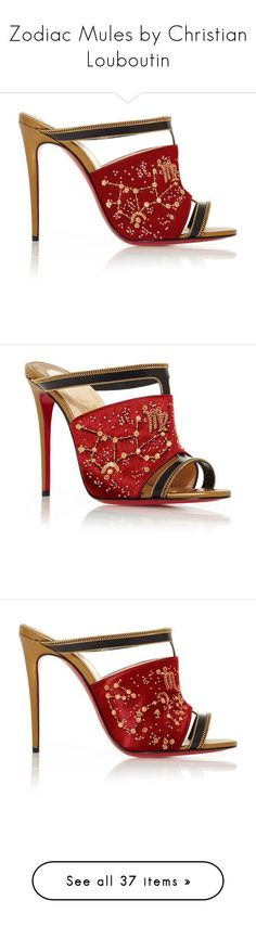 Zodiac Mules by Christian Louboutin by adoreluna ❤ liked on Polyvore featuring shoes, satin shoes, mule shoes, embroidered shoes, gold and silver shoes, heels, v neck dress, mini wrap dress, sequin mini dress and sequin cocktail dresses