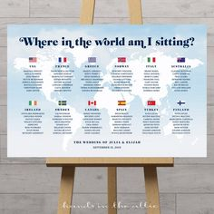 Items similar to World map seating chart with tables represented by country flags – customized digital file to print on your own on Etsy – Wedding Planning Organization Rustic Wedding Seating, Seating Chart Wedding, Seating Charts, Name Of All Countries, Welcome To Our Wedding, Printable Designs, Travel Themes, Wedding Planning, How To Plan