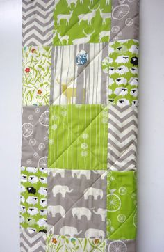Baby Quilt-Modern Organic Birch Fabric-Gray-Lime Green-Grey-Elephant-Deer-Lamb-Chevron Crib Bedding-Baby Blanket-New Baby Gift Idea