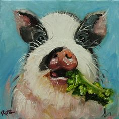 Pig+painting+63+12x12+inch+original+oil+painting+by+Roz+by+RozArt,+$90.00