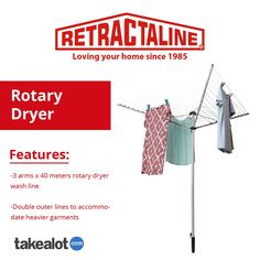 The three arm 40 meter rotary dryer has been designed to offer a cost effective option for laundry drying, allowing you to save money. Click the link below to see more.
