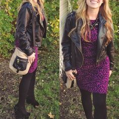 A total bad ace outfit for fall/winter. Black leather jacket, leopard, and spiked wedges.