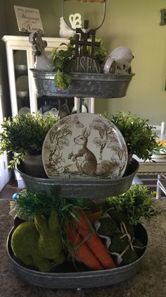 Easter Decor Ideas: From Easter Wreath To Lighting - adventskranz ideen Galvanized Tiered Tray, Seasonal Decor, Holiday Decor, Easter Crafts, Easter Decor, Easter Ideas, Tiered Stand, Easter Colors, Easter Table