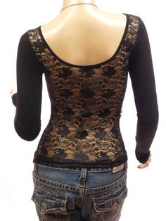 Amazon.com: Patty Women Sexy Black Floral Lace Back Scoop Neck Long Sleeve Blouse Top: Clothing