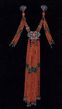Mongolian necklace | Silver, coral, turquoise and other stones.