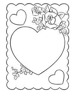 14 Printable Coloring Pages Valentines Day Cards Heart Coloring Pages, Cute Coloring Pages, Cartoon Coloring Pages, Printable Coloring Pages, Coloring Books, Printable Labels, Colouring, Printables, Valentine Cartoon