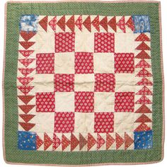 Antique Mid 1800s Red Green Calico One Patch Doll Quilt Hand Quilted from americanbeautydolls on Ruby Lane