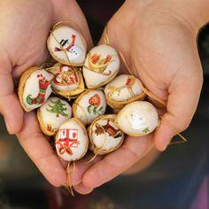 Retro Vánoční ozdoby oříšky - nádherná sada 10 ks
