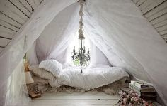 This is the bed in the magical white cottage in the woods that I would never leave. Not ever.