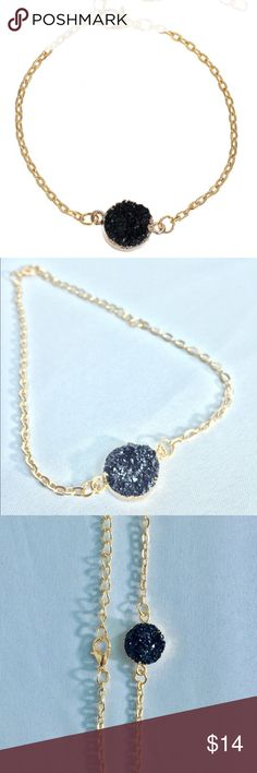 """Black Druzy Chain Bracelet Brand new! About 10"""". Classic black resin stone is featured in a round design in the center of this bracelet. It has a lobster claw clasp with adjustable hoops for your best fit. Jewelry Bracelets"""