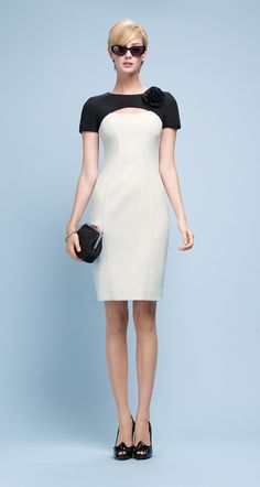 PAULE KA : Dress in neoprene mesh and satin-backed crepe