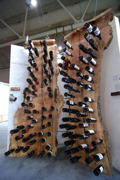 A natural wine rack- by Canadian based Wood Stone Metal Studio (headed by designer Tomás Berinstein). Wood Projects, Woodworking Projects, Wood Wine Racks, Wine Cabinets, Wood Creations, Wine Storage, Wine Cellar, Wood Crafts, Diy Furniture