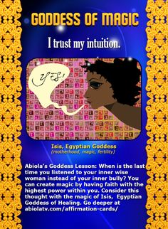 Goddess Affirmation Card with Isis, Egyptian Goddess of Motherhood, Magic, Fertility...