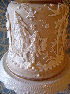 https://flic.kr/p/dWt9bA | A Cake For All Seasons -  Winter | A display cake with a design inspired by the plasterwork ceiling in the library at Blickling Hall Norfolk, Suffolk Pargeting and Wedgewood pottery!