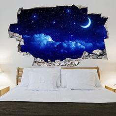 Adesivo da muro 3D in vinile con cielo notturno | Saldi su Lesara