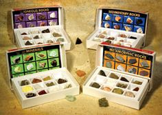 "Dig into some serious fun with these fascinating rock collection kits. Each collection features 12 handpicked rock specimens, chosen for their color, texture and beauty. Each collection also includes an identification chart, convenient storage tray and information guide. Put these out on your nature table for ""hands-on"" earth science exploration!"