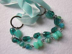 Wedding Bracelet Aqua Blue Green Swarovski Crystal by JoieLaVie, $45.00