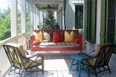Hanging a Porch Swing Guidelines - http://www.bluelittlewolf.com/hanging-a-porch-swing-guidelines/