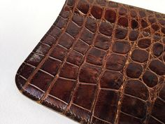 1950 real brown leather wallet, 1950 purse, vintage bag, croco vintage, 1950 accessories, 1950 fashion di Quieora su Etsy