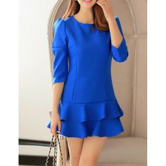 Wholesale Solid Color Casual Scoop Neck Layered Dress For Women (BLUE,XL), Casual Dresses - Rosewholesale.com