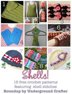 #Roundup of 15 free #crochet patterns featuring shell stitches on Underground Crafter