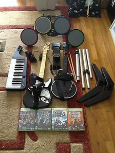 Guitar Game Fine Xbox 360 Rock Band Guitar Hero Drum Set Drum Pedal Microphone