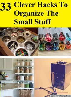 33 Clever Hacks To Organize The Small Stuff...For more creative tips and ideas FOLLOW https://www.facebook.com/homeandlifetips