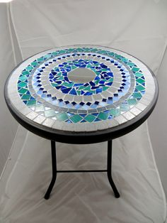 Round mosaic side table or plant stand - RESERVED FOR WENDY