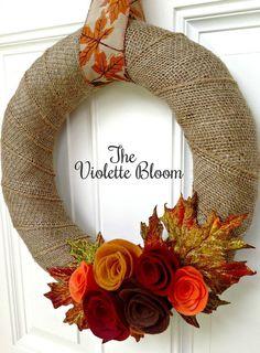 Fall Wreath Burlap Wreath Fall Decor Front by TheVioletteBloom Fall Yarn Wreaths, Felt Flower Wreaths, Felt Wreath, Wreath Crafts, Diy Wreath, Holiday Wreaths, Felt Flowers, Burlap Wreath, Wreath Fall