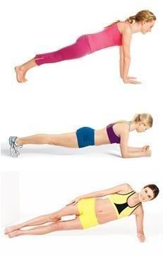 코어 운동 플랭크(Plank)와 각종 변형 자세. 엉덩이를 고정하고 1분만 버틸 수 있어도 훌륭합니다.