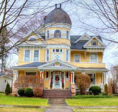 Lovely big house in Titusville PA. Imposing center dome and the typical top story windows in eaves and towers that look intriguing. Not crazy about the color but attractive nevertheless. Micoley's picks for #VictorianHomes www.Micoley.com