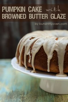 Moist pumpkin pound cake that's topped with an amazing browned butter glaze!