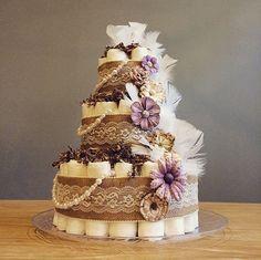 Beautiful shabby chic three tier diaper cake by JennyKnickDesigns
