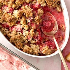 This strawberry crumble is a sweet and crunchy treat that makes for a special #dessert. | Health.com #dessert