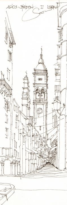 Standing the Test of Time by Agios Spiridon Architecture Concept Drawings, Art And Architecture, Cool Drawings, Drawing Sketches, Perspective Sketch, Architect Drawing, Landscape Sketch, Urban Sketchers, Sketch Design